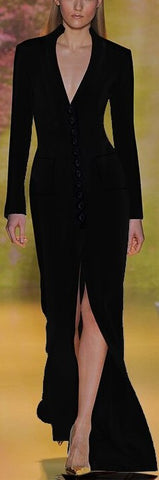 Black Long Button V-Neck Dress