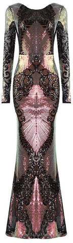 Sequin-Embellished Mesh Gown, Pink/Black | DESIGNER INSPIRED FASHIONS