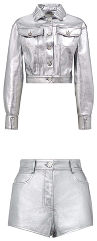Metallic Denim Jacket and Short Set | DESIGNER INSPIRED FASHIONS