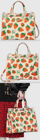 Zumi Strawberry Print Medium Top Handle Bag | DESIGNER INSPIRED FASHIONS