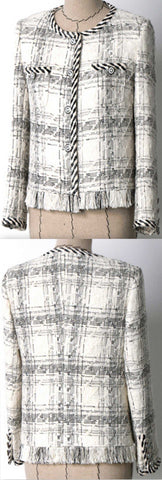 Braided-Trim Fringed Tweed Jacket