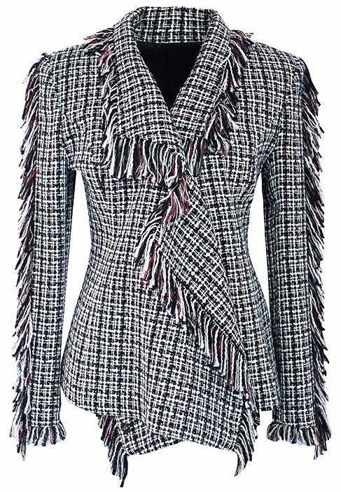 Asymmetric Fringed Tweed Jacket - DESIGNER INSPIRED FASHIONS