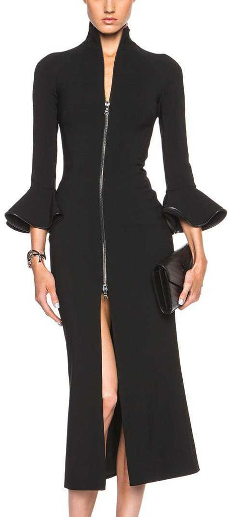 Black Bell Sleeve Zip Midi Dress Designer Inspired Fashions