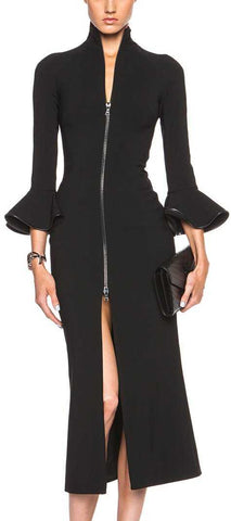 Black Bell-Sleeve Zip Midi Dress