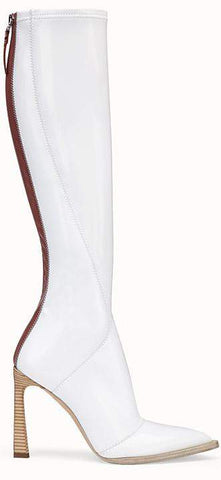 Boots in Glossy White Neoprene | DESIGNER INSPIRED FASHIONS