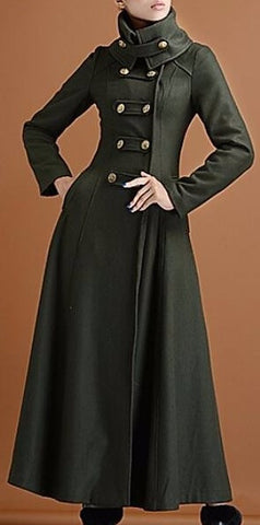 Long Military Cashmere Wool Coat | DESIGNER INSPIRED FASHIONS