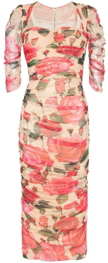 Ruched Floral Print Dress
