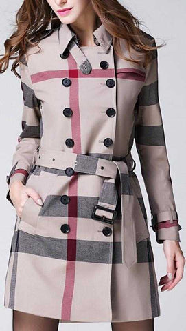Check Print Short Trench Coat | DESIGNER INSPIRED FASHIONS