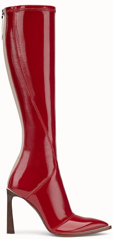 Boots in Glossy Red Neoprene | DESIGNER INSPIRED FASHIONS