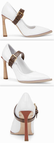 Mary Jane Pump in White | DESIGNER INSPIRED FASHIONS