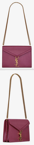 'Cassandra' Monogram Clasp Bag in Smooth Leather, Grape | DESIGNER INSPIRED FASHIONS