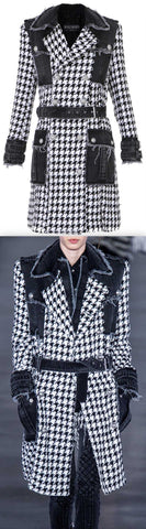 Denim And Houndstooth Double-Breasted Tweed Trench Coat | DESIGNER INSPIRED FASHIONS