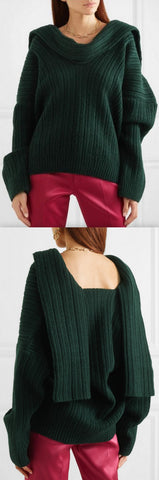 'Ahwa' Draped Ribbed Sweater | DESIGNER INSPIRED FASHIONS