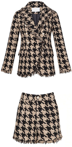 Frayed Houndstooth Double-Breasted Jacket and Short Set | DESIGNER INSPIRED FASHIONS