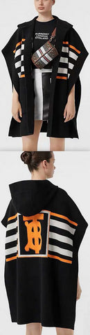 Wool-Blend Jacquard Cape, Black | DESIGNER INSPIRED FASHIONS