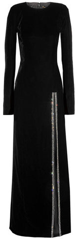 Long Black Velvet Dress with Crystal-Trim | DESIGNER INSPIRED FASHIONS