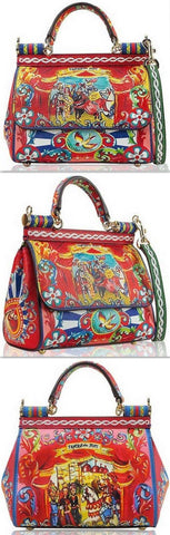 'Sicily Puppet' Print Leather Bag - DESIGNER INSPIRED FASHIONS