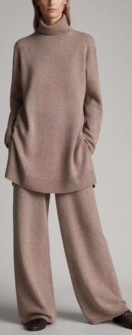 Oversized Cashmere-Blend Turtle-Neck Sweater and Pant Set | DESIGNER INSPIRED FASHIONS