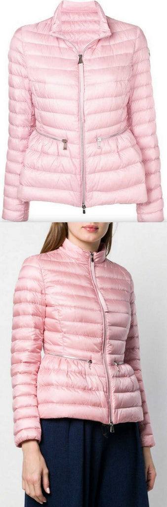 'Agate' Short Quilted Puffer Jacket in Pink