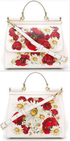 'Miss Sicily' Medium Bag with Poppies and Daisies Print - DESIGNER INSPIRED FASHIONS