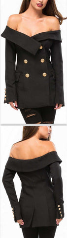 'All that Admiration' Off-Shoulder Blazer in Black - DESIGNER INSPIRED FASHIONS