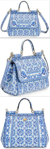 'Miss Sicily' Floral Majolica Tile Print Satchel Bag, Blue/White - DESIGNER INSPIRED FASHIONS