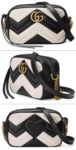 GG Marmont Mini Matelassé Camera Bag, Black/White | DESIGNER INSPIRED FASHIONS