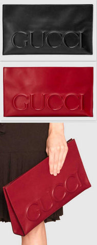 XL Leather Clutch Bag, Black or Red - DESIGNER INSPIRED FASHIONS