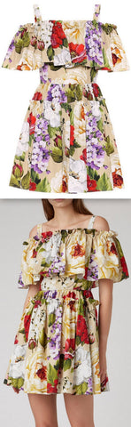 Floral Print Off-the-Shoulder Mini Dress | DESIGNER INSPIRED FASHIONS
