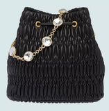 Crystal Nappa Leather Bucket Bag, Black | DESIGNER INSPIRED FASHIONS