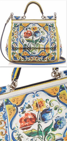 'Sicily Majolica' Print Leather Crossbody Bag - DESIGNER INSPIRED FASHIONS