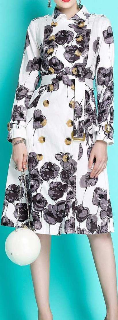 Double-Breasted Floral Print Trench Coat