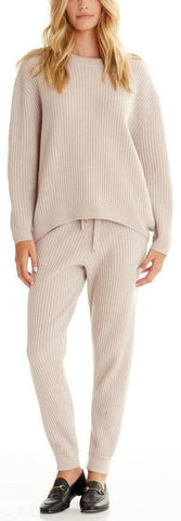 Ribbed Cashmere-Blend Sweater and Pant Set - Beige/Cream, Black, Grey, Nude/Pink | DESIGNER INSPIRED FASHIONS