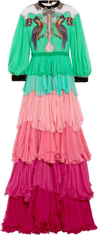 Velvet-Trimmed Embellished Tiered Chiffon Gown - DESIGNER INSPIRED FASHIONS