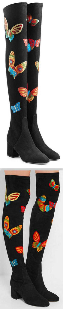 Black Suede Over-the-Knee Stretch Butterfly Boots - DESIGNER INSPIRED FASHIONS