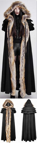 Long Fur-Trimmed Layered Cape Coat, Black | DESIGNER INSPIRED FASHIONS