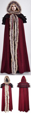 Long Fur-Trimmed Layered Cape Coat, Wine Red | DESIGNER INSPIRED FASHIONS