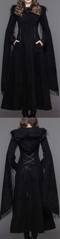 Long Embroidered Fringed Goth Coat, Black or Red | DESIGNER INSPIRED FASHIONS