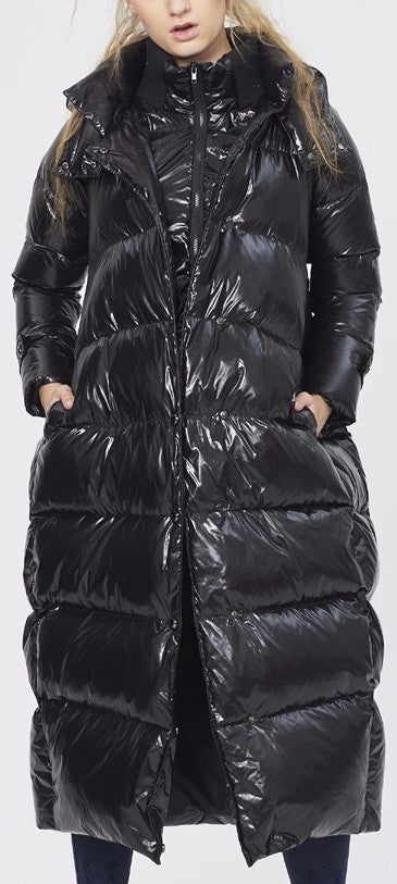 Black Glossy Paneled Puffer Down Coat - DESIGNER INSPIRED FASHIONS