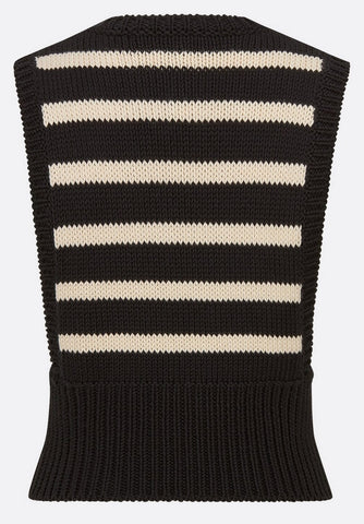 Baby sleeveless sweater in cashmere and black and ecru cotton