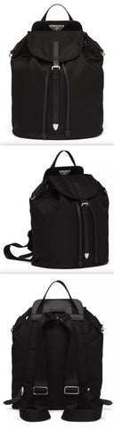 Nylon and Saffiano Leather Backpack, Black | DESIGNER INSPIRED FASHIONS