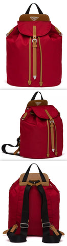 Nylon and Saffiano Leather Backpack, Red | DESIGNER INSPIRED FASHIONS