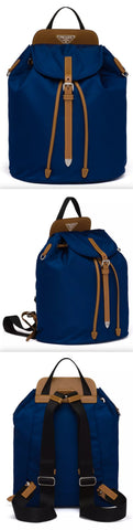 Nylon and Saffiano Leather Backpack, Blue | DESIGNER INSPIRED FASHIONS