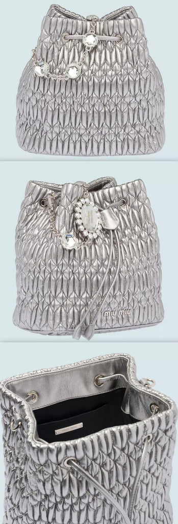 Crystal Nappa Leather Bucket Bag, Chrome | DESIGNER INSPIRED FASHIONS