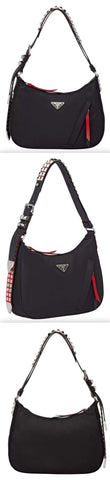 Black Nylon Hobo Bag with Leather and Studs | DESIGNER INSPIRED FASHIONS