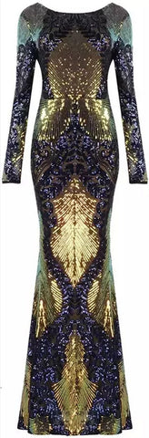 Sequin-Embellished Mesh Gown, Gold/Blue | DESIGNER INSPIRED FASHIONS