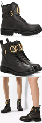 'VLOGO' Leather Ankle Boots | DESIGNER INSPIRED FASHIONS