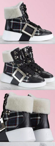 'Viv' Skate Mount Fur high Top Sneakers | DESIGNER INSPIRED FASHIONS