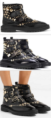 'Everdon' Buckled Studded Glossed leather Ankle Boots | DESIGNER INSPIRED FASHIONS