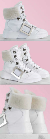 'Viv' Skate Mount Fur High Top Sneakers-White | DESIGNER INSPIRED FASHIONS